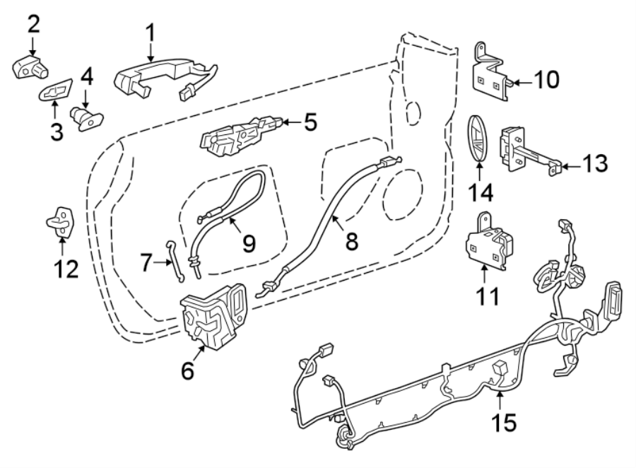 Chevrolet Camaro Door Wiring Harness  Front   W  O Auto Dimming