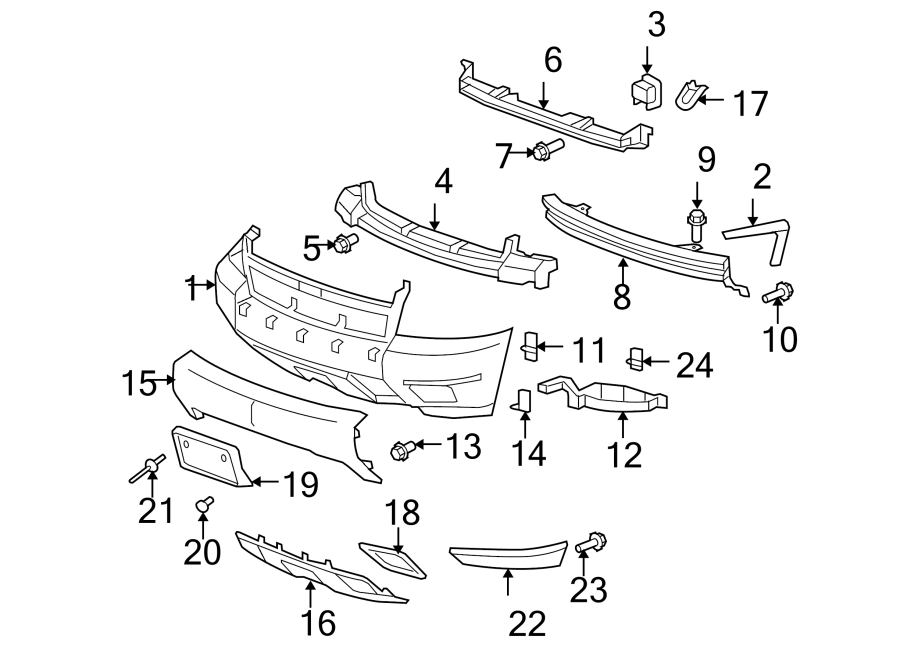 Chevrolet Tahoe Bumper Cover Support Rail   W  Off Road Package-z71  W  Off Road
