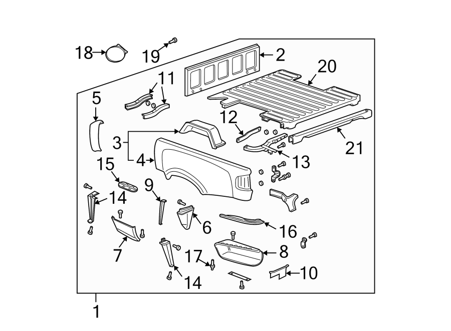 Chevrolet S10 Truck Bed Panel  Stepside  Rear